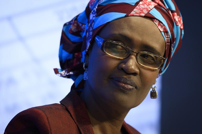 FILE - In this Thursday, Jan 19, 2017 file photo, Winnie Byanyima, Executive Director of Oxfam International, attends the 47th annual meeting of the World Economic Forum, WEF, in Davos, Switzerland. The United Nations has appointed Byanyima, a former Ugandan politician and the current leader of Oxfam International, to be the new executive director of the UN AIDS agency it was announced on Wednesday, Aug. 14, 2019. UNAIDSu0092 previous chief, Michel Sidibe, left his post early in May, after allegations he improperly handled sexual assault claims against one of Sidibeu0092s senior deputies.(Gian Ehrenzeller/Keystone via AP, File)