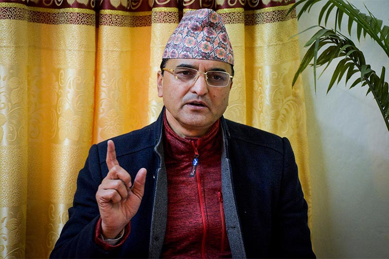 This undated image shows appointed minister for culture, tourism and aviation, Yogesh Bhattarai. Photo: Naresh Krishna Shrestha/THT