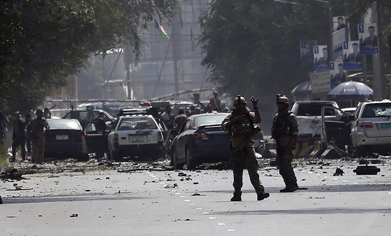 Afghan security personnel arrive at the site of car bomb explosion in Kabul, Afghanistan, Thursday, on September 5, 2019. Photo: AP