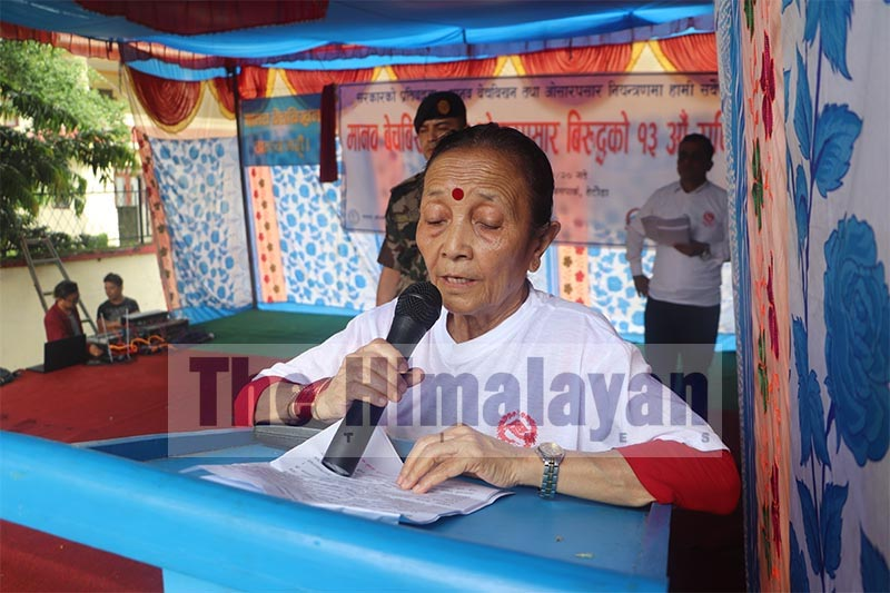 Province 3 Governor Anuradha Koirala speaking at a programme organised to mark 13th National Day Against Human Trafficking, in Hetauda, on Friday, September 6, 2019. Photo: THT