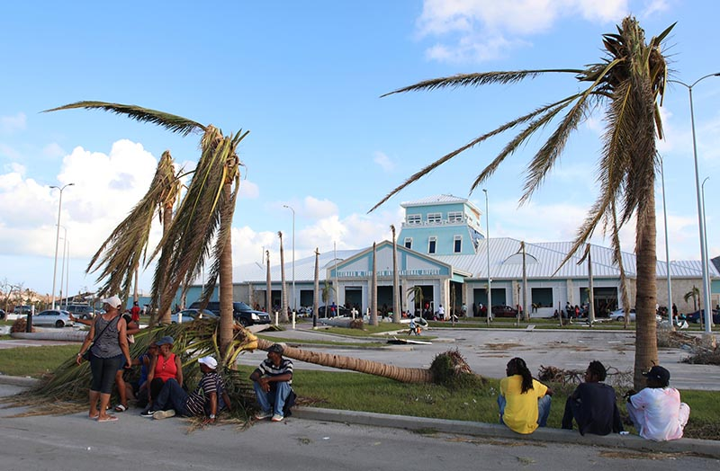 People sit under broken palm trees outside the Leonard M. Thompson International Airport after the passing of Hurricane Dorian in Marsh Harbour, Abaco Islands, Bahamas, Thursdayon September 6, 2019. Photo: AP