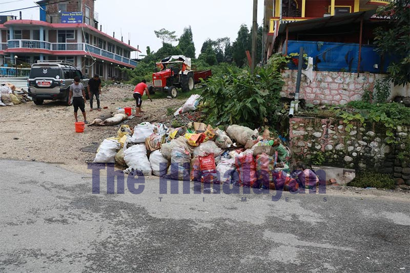 Garbage dumped on the roadside in the popular tourist destination Bhedetar, in Dhankuta, on Monday, September 16, 2019. Photo: THT
