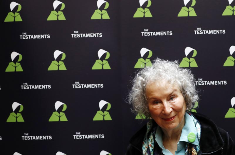Canadian author Margaret Atwood poses for a photograph during a press conference at the British Library to launch her new book 'The Testaments' in London, Tuesday, Sept 10, 2019. Photo: AP