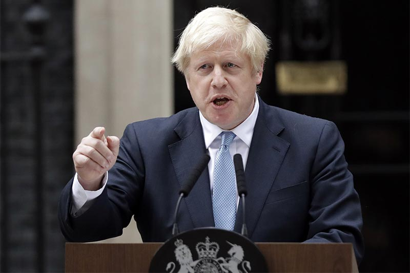 Britain's Prime Minister Boris Johnson speaks to the media outside 10 Downing Street in London, on Monday, September 2, 2019. Johnson says he doesn't want an election amid Brexit crisis and issued a rallying cry to lawmakers to back him in securing Brexit deal. Photo: AP