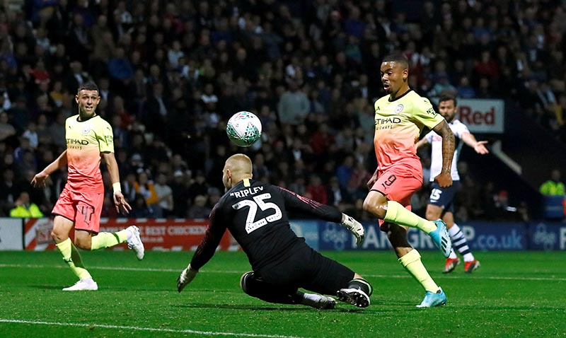 Manchester City's Gabriel Jesus scores a goal which is ruled offside during the Carabao Cup Third Round match between Preston North End and Manchester City, at Deepdale, in Preston, Britain, on September 24, 2019. Photo: Action Images via Reuters
