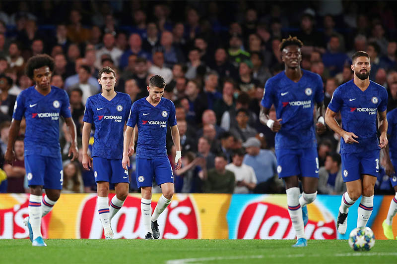Chelsea's Jorginho, Andreas Christensen and team mates look dejected after conceding their first goal. Photo: Reuters