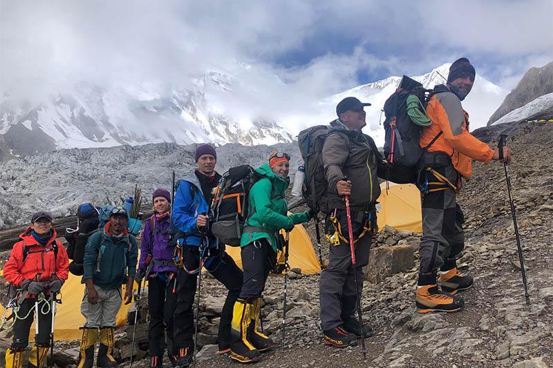 FILE: Climbers pose for a portrait at Manaslu base camp. Courtesy: Tashi Lakpa Sherpa