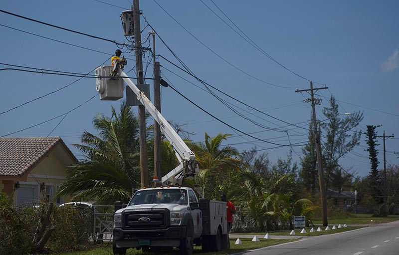 Cable TV is restored after the passing of Hurricane Dorian in Freeport, Bahamas, Wednesday, on Sept. 11, 2019. Photo: AP