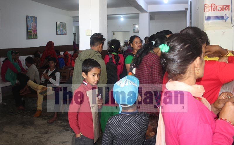 Patients thronging a private clinic after they did not receive treatment due to  lack of doctors in Dadeldhura Hospital, on Sunday, September 8, 2019. Photo: THT