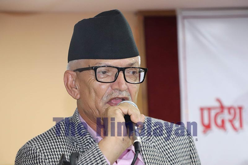 Chief Minister Dormani Poudel addressing Province Development Council, in Heatuda, on Friday, September 27, 2019. Photo: THT