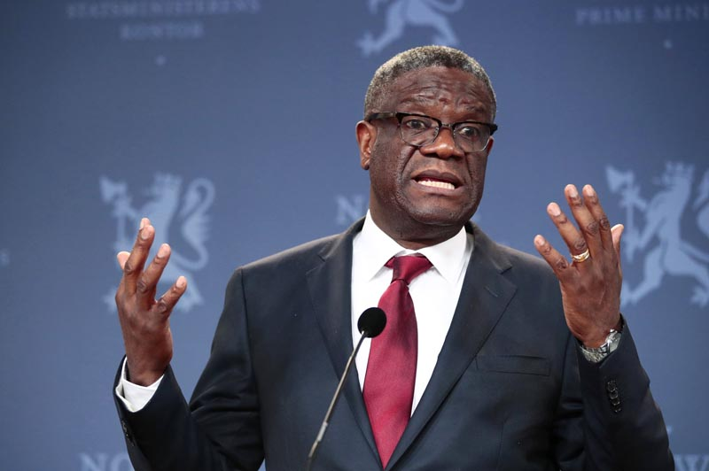 Nobel Peace Prize laureate Dr Denis Mukwege speaks to the media during a news conference in Oslo, Norway, Dec 11, 2018. Photo: Lise Aserud/NTB scanpix via AP/File