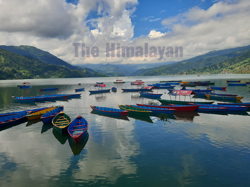 A view of Phewa Lake of Pokhara in Kaski district after cleaning out water hyacinth. Photo: Rup Narayan Dhakal/THT