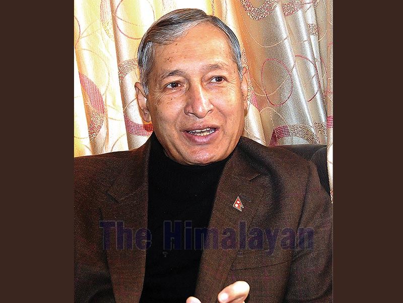 Interview with Finance Minister Yubaraj Khatiwada in Lalitpur on Saturday, March 2, 2019. Photo: Balkrishna Thapa Chhetri/THT