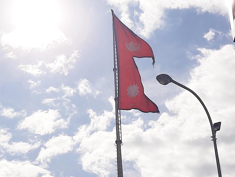 This undated image shows flag of Nepal waving at Maitighar Mandala in Kathmandu. Photo: Nishant Pokhrel/THT