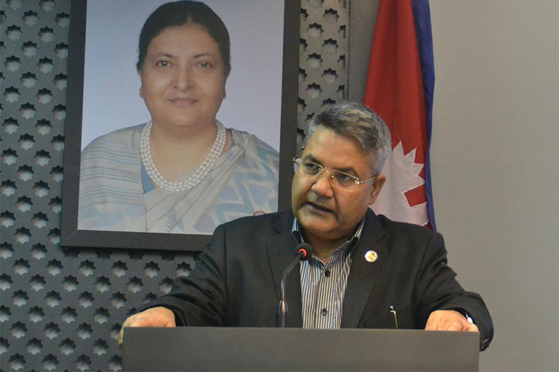 FILE - Minister for Communication and Information Technology Gokul Prasad Baskota apprising mediapersons about recent Cabinet decisions, in Kathmandu, on Thursday, September 26, 2019. Photo: RSS