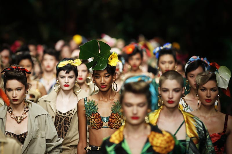 Models wear creations as part of the Dolce & Gabbana Spring-Summer 2020 collection, unveiled during the fashion week, in Milan, Italy, Sunday, September 22, 2019. Photo: AP