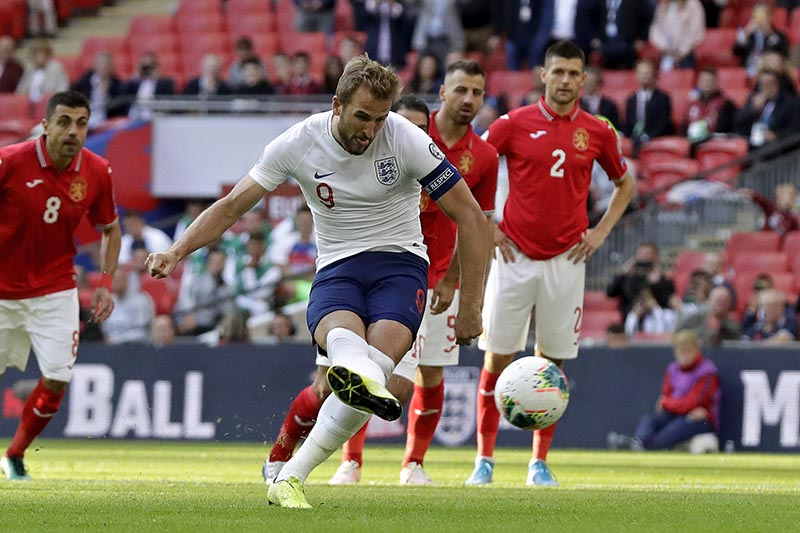 England's Harry Kane scores his side's second goal from the penalty spot during the Euro 2020 group A qualifying soccer match between England and Bulgaria at Wembley stadium in London, Saturday, Sept. 7, 2019. Photo: AP
