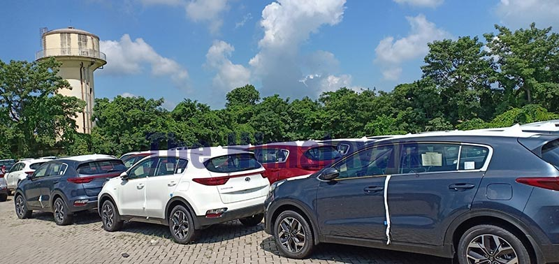 Imported cars awaiting customs clearance, in Birgunj, on Thursday, September 19, 2019. Photo: THT