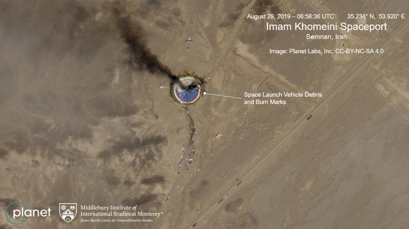 This satellite image from Planet Labs Inc, that has been annotated by experts at the James Martin Center for Nonproliferation Studies at Middlebury Institute of International Studies, shows a fire at a rocket launch pad at the Imam Khomeini Space Center in Iran's Semnan province, Thursday August 29, 2019. Photo: Planet Labs Inc, Middlebury Institute of International Studies via AP