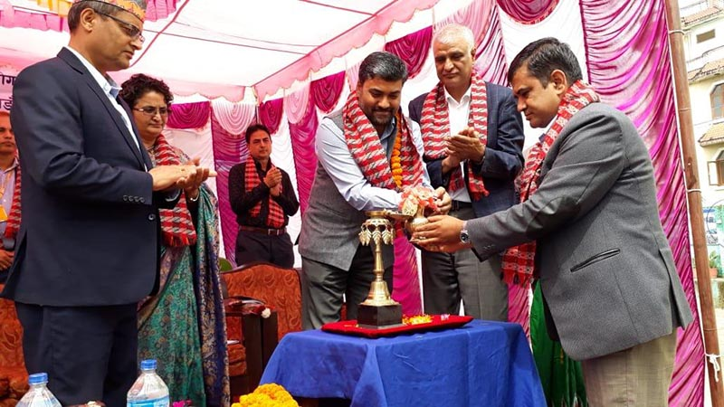 Ajay Kumar (third from right), deputy chief of Mission, Embassy of India among others inaugurating the school building of Kuleshwor Awas Secondary School,u00a0in Kathmandu Metropolitan City-14, on Saturday, September 28, 2019. Photo Courtesy: Indian Embassy/ twitter