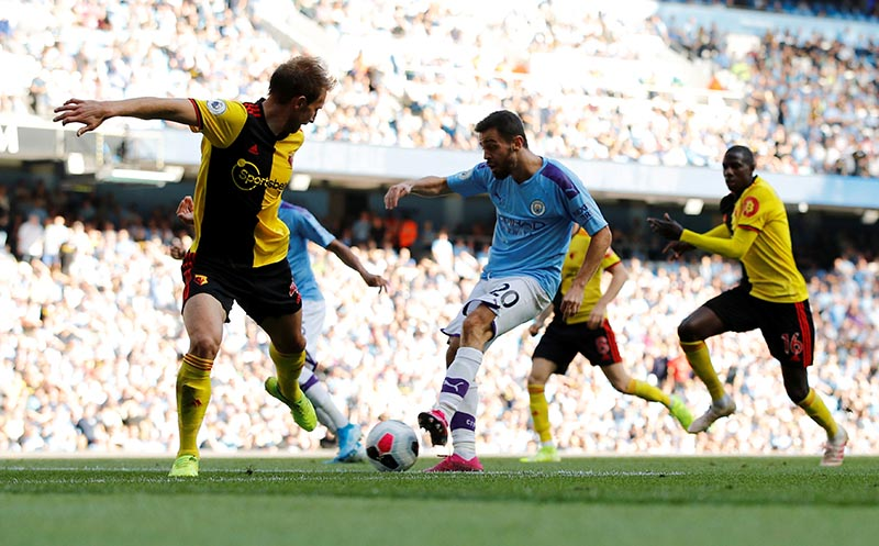 Manchester City's Bernardo Silva scores their sixth goal during the Premier League match between Manchester City and Watford, at  Etihad Stadium, in Manchester, Britain, on September 21, 2019. Photo: Reuters