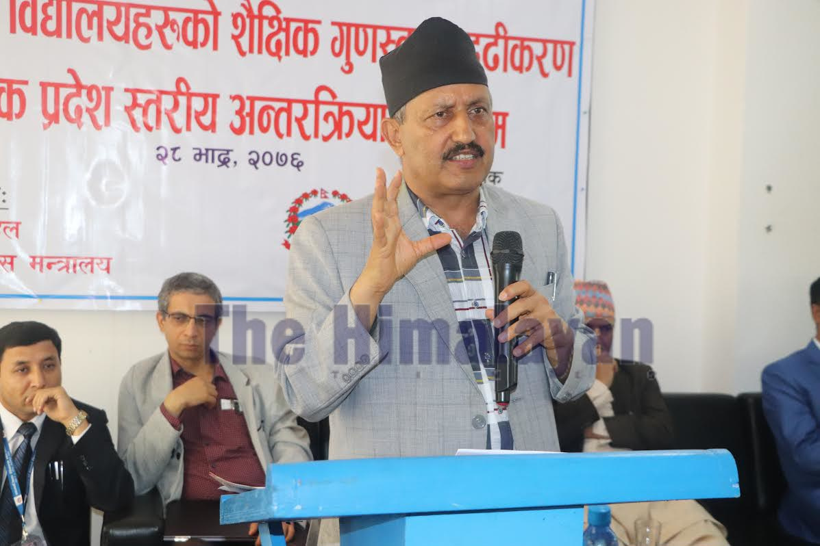Minister of Education, Science and Technologyu00a0Giriraj Mani Pokhrel speaking at an event in Hetauda,u00a0 on Saturday.u00a0