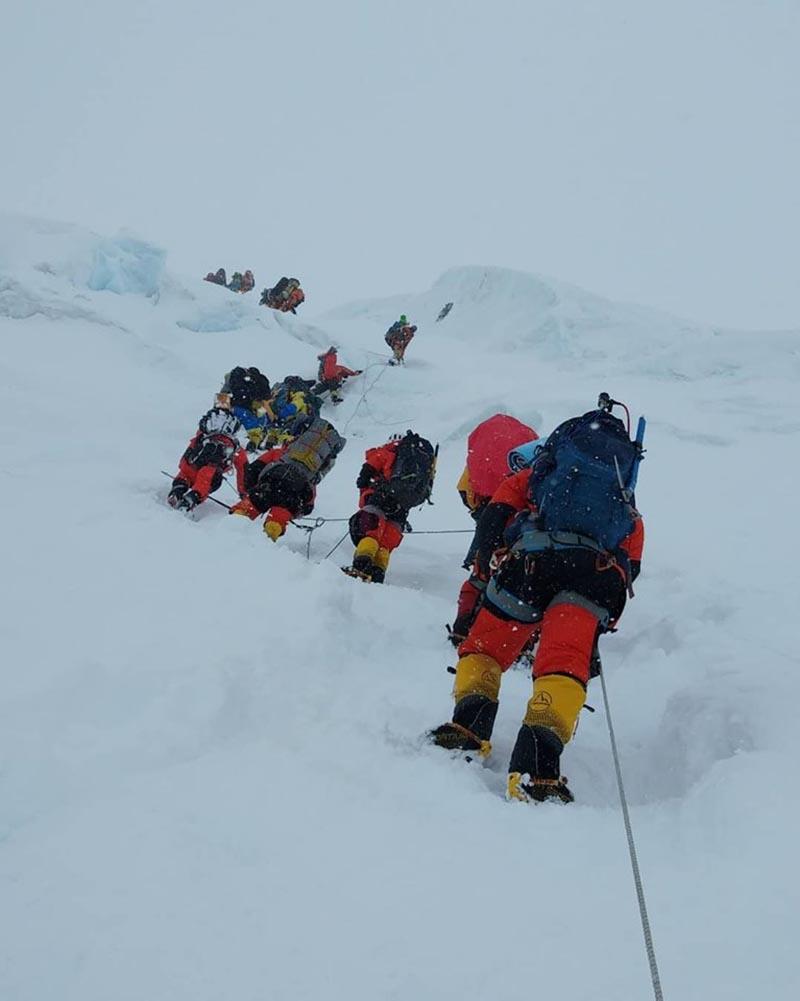 Climbers heading to Manaslu summit. Photo Courtesy: Lakpadendi Sherpa