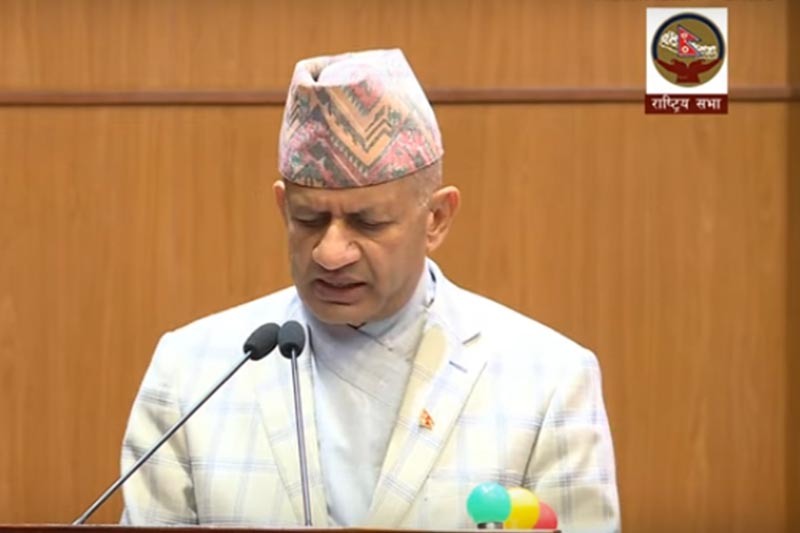 Minister for Foreign Affairs Pradeep Kumar Gyawali adresses the meeting of National Assembly in New Baneshwor, Kathmandu, on Tuesday, September 17, 2019. Photo: Screenshot of National Assembly live broadcast/Youtube