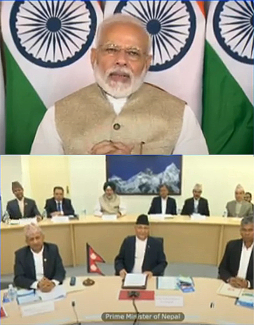 This combo image shows India's Prime Minister Narendra Modi (top) and Nepal's Prime Minister KP Sharma Oli remotely inaugurating Nepal-India cross-border petroleum pipeline through a video conference via remote control, on Tuesday, September 10, 2019. Photo: Narendra Modi/Twitter