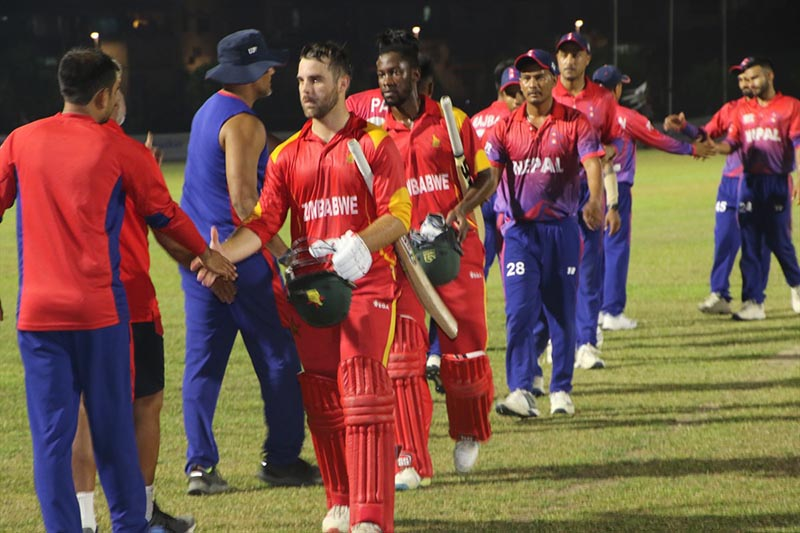 Nepal national cricket team members shake hands with Zimbabwe players after their opening match of the nSingapore Twenty20 Tri-series at the Indian Association grounds in Singapore on Friday, September 27, 2019. Photo courtesy: Raman Shiwakoti