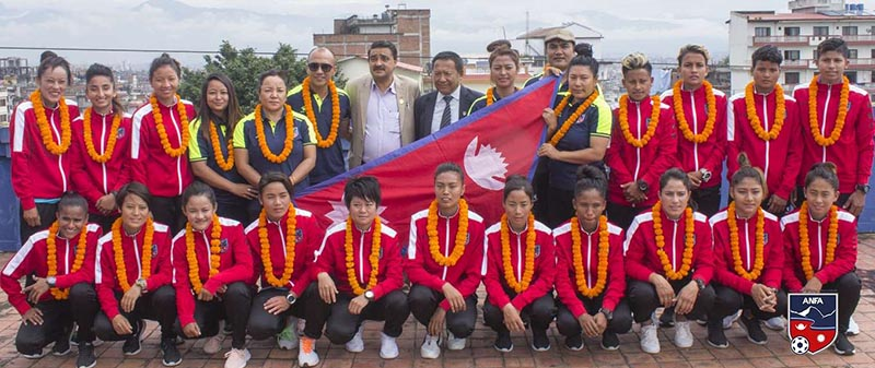 ANFA officials bidding farewell to Nepali national women's football team leaving to take partu00a0in Nadezhda Cup in Kyrgyzstan, on Wednesday, September 4, 2019. Photo Courtesy: ANFA