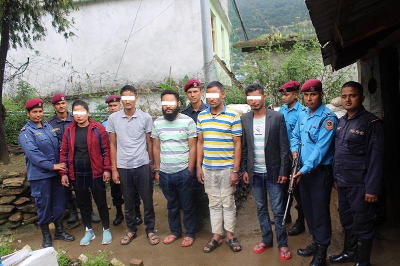 Five men arrested for assaulting on-duty police personnel at Ananta mela in Badimalika Municipality-8 of Bajura district. Photo: Prakash Singh / THT