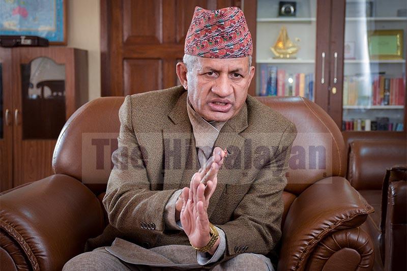 Interview with Minister of Foreign Affairs Pradeep Kumar Gyawali, in Kathmandu, on Friday, January 18, 2019. Photo: Naresh Krishna Shrestha/THT
