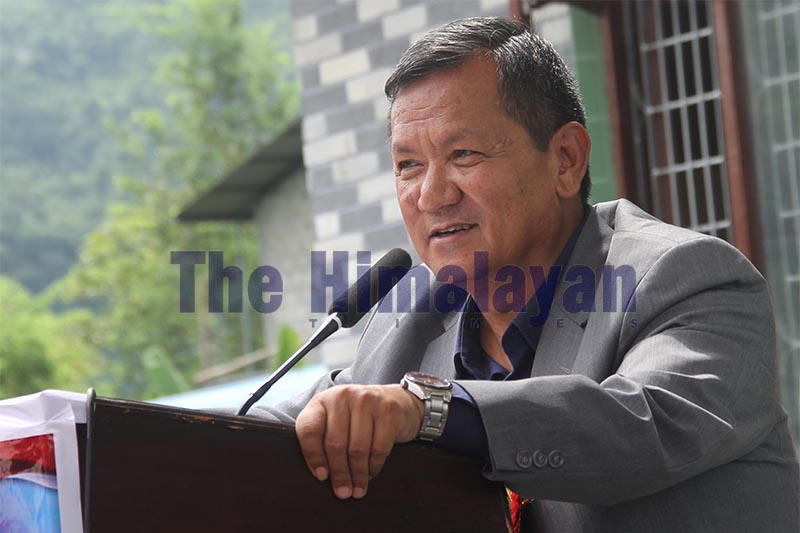 FILE - Gandaki Province Chief Minister Prithvi Subba Gurung addressing the 11th convention of Sahara Club, in Pokhara, Kaski, on Monday, September 16, 2019. Photo: THT