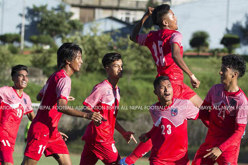 Nepali players celebrate after scoring an equaliser against the Maldieves during SAFF U-18 Championship in Kathmandu, on Friday, September 20, 2019. Courtesy: ANFA/facebook