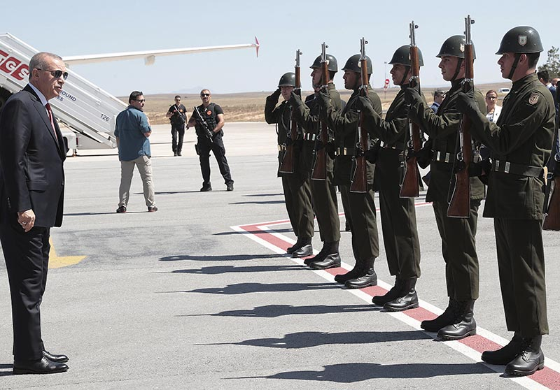 Turkey's President Recep Tayyip Erdogan inspects a guard of honour upon his arrival for ceremonies to commemorate the 100th anniversary of Sivas Congress, a milestone on the Turkish War of Independence, in Sivas, Turkey on September 4, 2019. Photo: AP