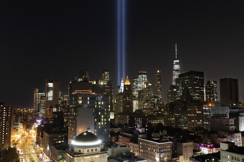 The Tribute in Light rises above the lower Manhattan skyline, Tuesday, September 10, 2019 in New York. Wednesday marks the 18th anniversary of the terror attacks against the United States of September 11, 2001. Photo: AP