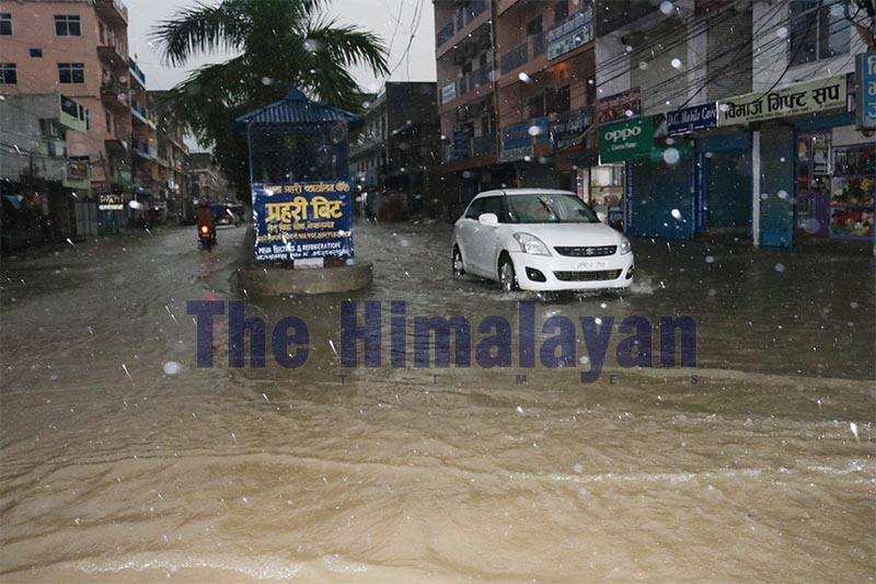 A view of the road that was submerged at Setu Chowk of Nepalgunj, on Wednesday, September 18, 2019. Photo: THT