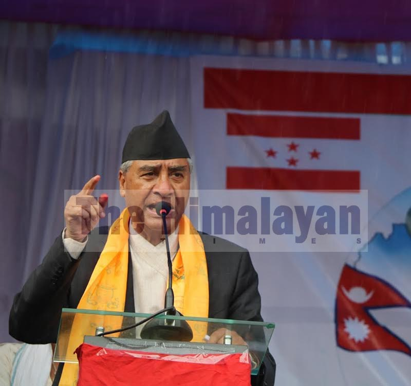Nepali Congress President Sher Bahadur Deuba addressing the second municipal assembly of NC Dharan sub-metropolis, in Sunsari, on Wednesday, September 11, 2019. Photo: THT