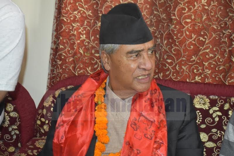 Nepali Congress President Sher Bahadur Deuba speaking to mediapersons at Biratnagar Airport, on Tuesday, September 10, 2019. Photo: THT