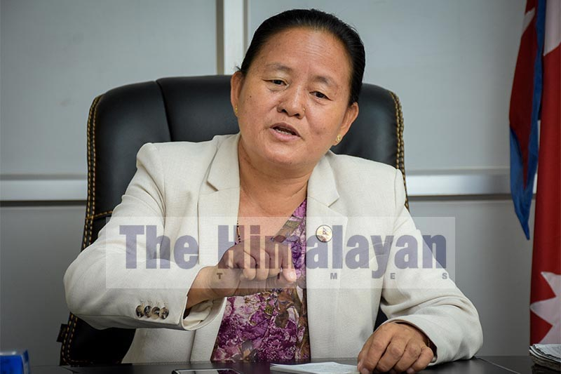 FILE - Shiva Maya Tumbahangphe, Deputy Speaker of the House of Representatives, in an interview with THT, on Friday, September 6, 2019. Photo: Naresh  Shrestha/THT