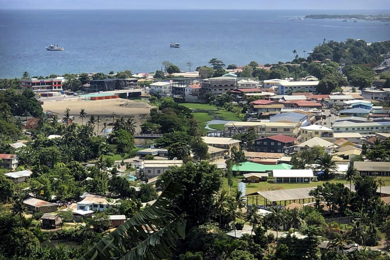 In this November 24, 2018, photo, ships are docked offshore in Honiara, the capital of the Solomon Islands. Photo: AP