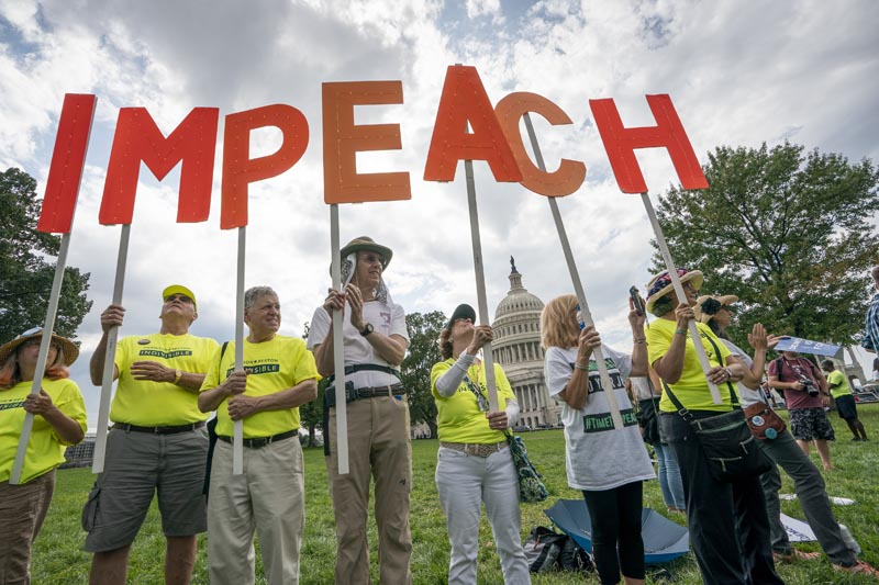 Activists rally for the impeachment of President Donald Trump, at the Capitol in Washington, Thursday, September 26, 2019. Photo: AP