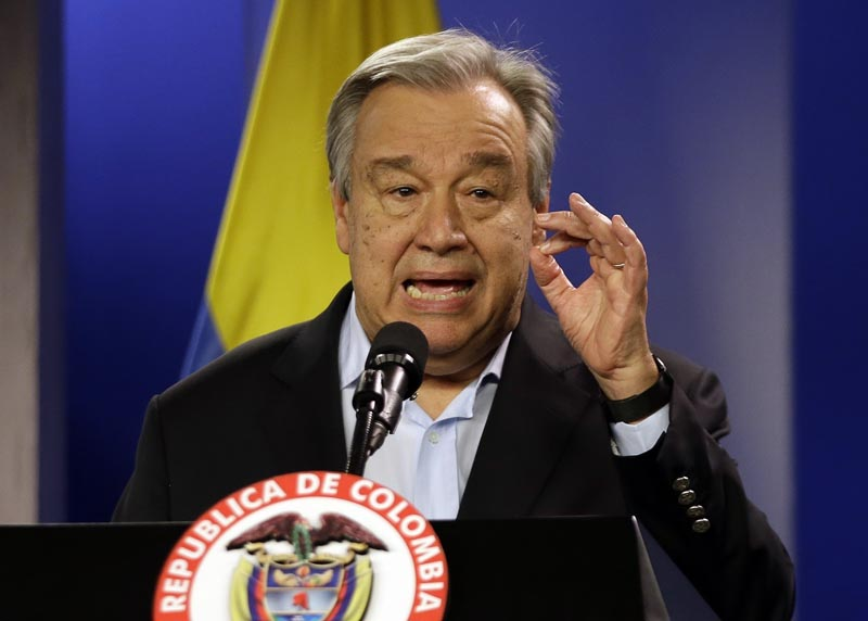 UN Secretary-General Antonio Guterres talks to the media during a join declaration with the Colombian president, in Bogota, Colombia, Jan 13, 2018. Photo: AP/File