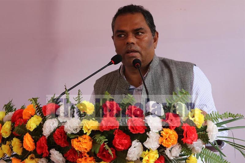 Deputy Prime Minister and Minister of Health and Population Upendra Yadav speaking at a programme organised on the occasion of 105th BP Jayanti in BP Koirala Institute of Health Sciences, Dharan, Sunsari, on Monday, September 9, 2019. Photo: THT