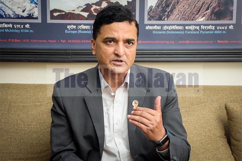 Interview with Tourism Minister Yogesh Bhattarai. Photo: Naresh Shrestha/ THT