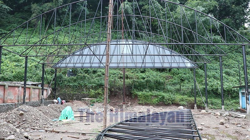 The on-going constrution site of a goat market inside the Agricultural Produce Market Dharan. Photo: Santosh Kaphle / THT