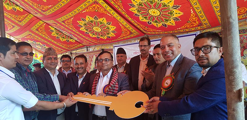 NRA CEO Sushil Gyawali (second from right), among others, during the inauguration of reconstructed government buildings damaged in 2015 earthquakes in Sindhupalchok, on Friday, September 13, 2019. Photo Courtesy: NRA
