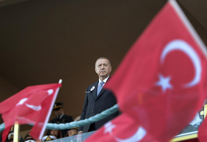 Turkey's President Recep Tayyip Erdogan attends a graduation ceremony of a military academy in Istanbul, Saturday on August 31, 2019. Photo: AP