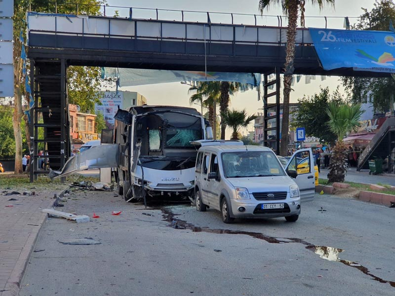 A bus carrying police is seen after hit by a bomb attack in Adana, Turkey, September 25, 2019. Photo: Reuters